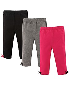 Hudson Baby Baby Leggings with Ankle Bows, 3-Pack, 0-24 Months
