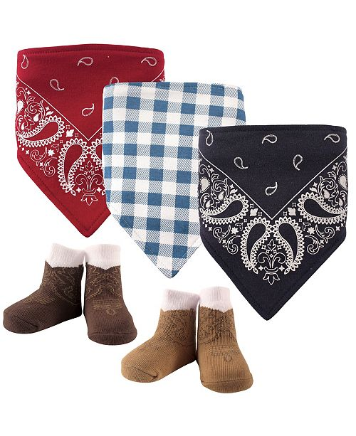 Hudson Baby Bandana Bibs and Socks, 5-Piece Set, Boy Western, 0-9 Months
