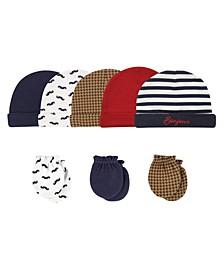 Cap and Scratch Mittens, 8-Piece Set, Bonjour, 0-6 Months