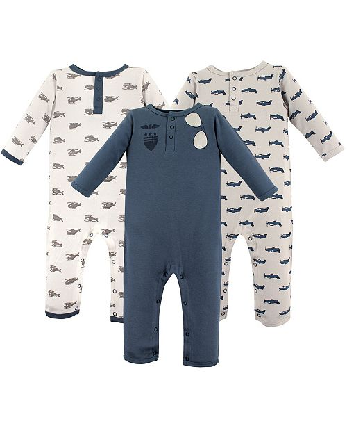 Hudson Baby Union Suits/Coveralls, 3-Pack, Aviator, 0-24 Months