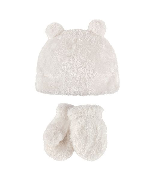 Hudson Baby Cozy Sherpa Hat and Mitten Set, 0 Months-4T