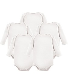 Long Sleeve Bodysuits, 5-Pack, White, 0-24 Months