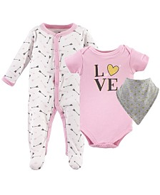 Hudson Baby Sleep and Play, Bodysuits and Bandana Bibs, 3-Piece Set, 0-9 Months