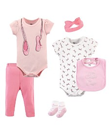 Little Treasure Bodysuits, Pants, Socks, Bibs and Headbands, 6-Piece Set, 0-12 Months
