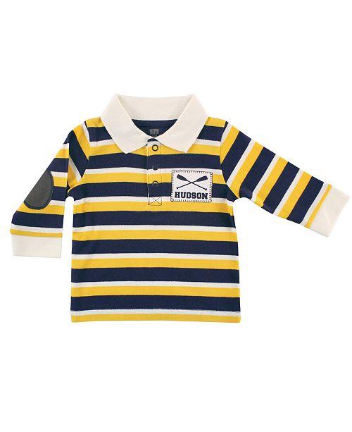 Hudson Baby Long Sleeve Striped Polo Shirt Shirt, Rowing, 0-9 Months