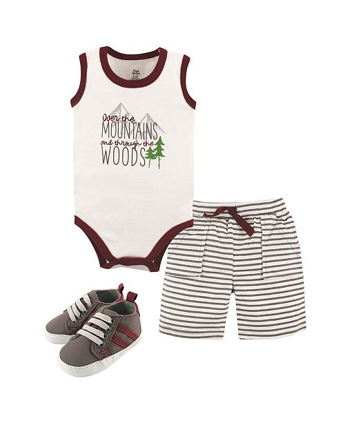 Baby Vision Yoga Sprout Bodysuits, Shorts and Shoes, 3-Piece Set, 0-18 Months
