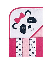 Luvable Friends Hooded Towel with Washcloths, 6-Piece Set, Panda, One Size