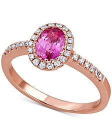 Pink Sapphire (1 ct. t.w.) & Diamond (1/5 ct. t.w.) Ring in 14k Rose Gold
