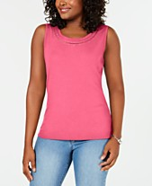 51e54752 Karen Scott Studded-Neck Sleeveless Top, Created for Macy's