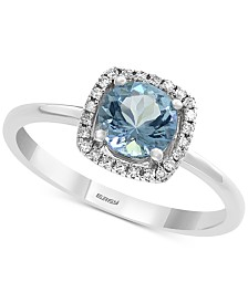 EFFY® Aquamarine (3/4 ct. t.w.) & Diamond Accent Ring in 14k White Gold