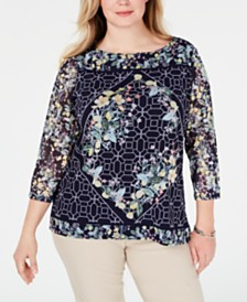 Charter Club Plus Size Lemon Mesh Printed Top, Created for Macy's