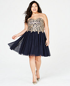 City Studios Trendy Plus Size Strapless Embroidered Corset Dress