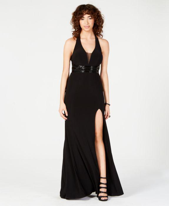 B Darlin Juniors Beaded-Waist Halter Gown, Black, Size: 9/10