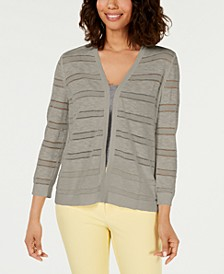 Petite Pointelle-Stripe Cardigan, Created for Macy's