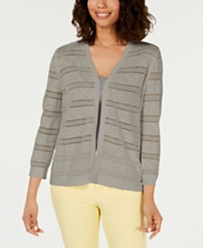 Charter Club Petite Pointelle-Stripe Cardigan, Created for Macy's