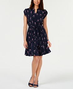 68acfd479 Charter Club Petite Printed Belted Dress, Created for Macy's