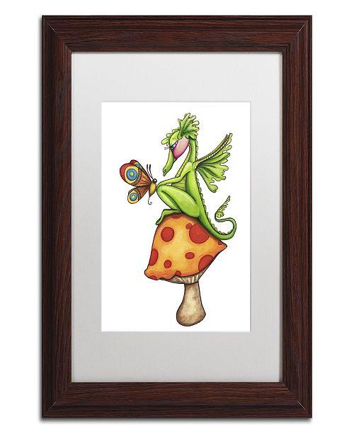 "Trademark Global Jennifer Nilsson Toadstool Sitter - Dragon Matted Framed Art - 16"" x 20"" x 0.5"""