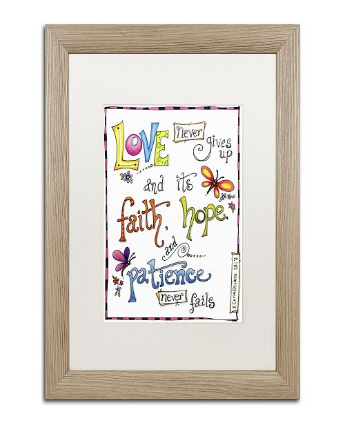"Trademark Global Jennifer Nilsson Words of Love - Never Fails Matted Framed Art - 11"" x 14"" x 0.5"""