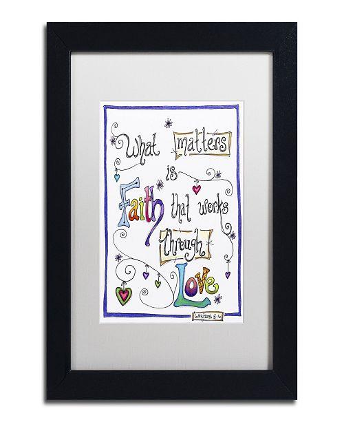 "Trademark Global Jennifer Nilsson Words of Faith - Through Love Matted Framed Art - 16"" x 20"" x 0.5"""