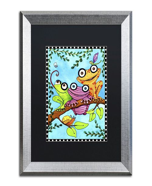 "Trademark Global Jennifer Nilsson Frogs Trio Branch Matted Framed Art - 16"" x 16"" x 0.5"""