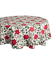 """Woodland Christmas Tablecloth 70"""" Round"""