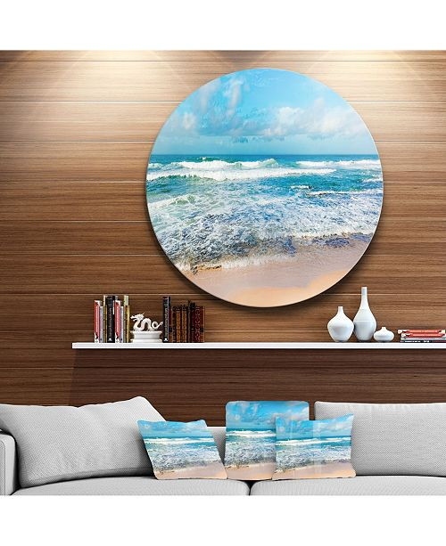 "Design Art Designart 'Indian Ocean Panoramic View' Extra Large Seashore Metal Circle Wall Art - 38"" x 38"""