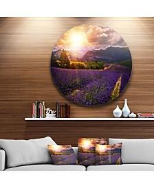"Designart 'Beautiful Sunset Over Lavender Field' Floral Metal Circle Wall Art - 23"" x 23"""