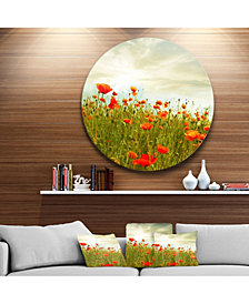 "Designart 'Red Poppy Flowers In Green Field' Disc Floral Circle Metal Wall Decor - 23"" x 23"""