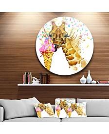 """Designart 'Giraffe Eating Ice Cream Watercolor' Disc Contemporary Animal Metal Circle Wall Decor - 23"""" x 23"""""""