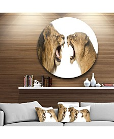 """Designart 'Lion And Lioness Roaring' Disc Abstract Metal Circle Wall Decor - 23"""" x 23"""""""