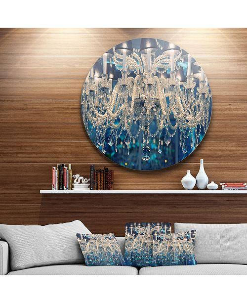 """Design Art Designart 'Blue Vintage Crystal Chandelier' Disc Flower Artwork On Large Metal Circle Wall Art - 23"""" x 23"""""""