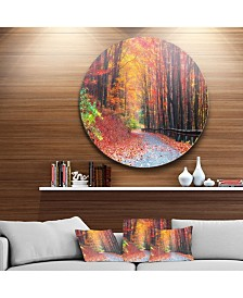 """Designart 'Road In Beautiful Autumn Forest' Disc Forest Large Metal Circle Wall Art - 38"""" x 38"""""""