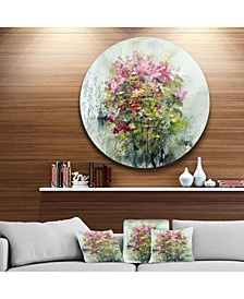 """Designart 'Bouquets Of Roses Painting Art' Floral Metal Circle Wall Art - 38"""" x 38"""""""