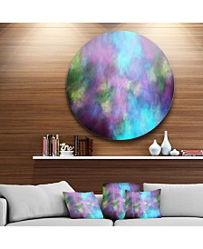 """Designart 'Perfect Blue Purple Starry Sky' Abstract Round Circle Metal Wall Art - 23"""" x 23"""""""