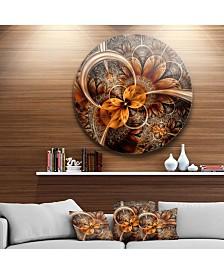 """Designart 'Dark Orange Fractal Flower' Abstract Round Circle Metal Wall Decor - 23"""" x 23"""""""