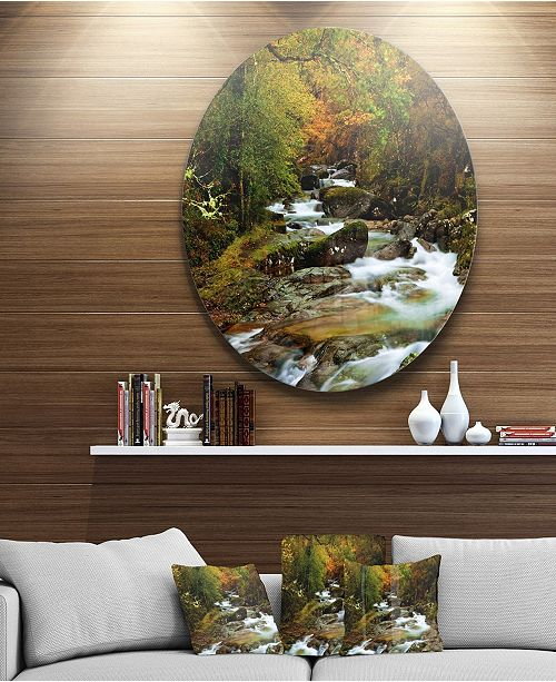 "Design Art Designart 'Flowing River In Autumn' Landscape Photography Circle Metal Wall Art - 23"" x 23"""