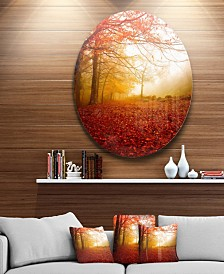 """Designart 'Yellow Sun Rays In Red Forest' Landscape Photography Circle Metal Wall Art - 38"""" x 38"""""""