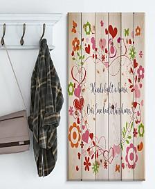 """Design Art 'Hands built a house. Floral heart' Wood Wall Art - 30"""" x 40"""""""