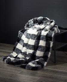 Hudson Buffalo Plaid Fuzzy Faux Fur Throw Blanket