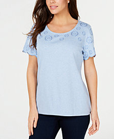 Karen Scott Petite Embroidery-Trim Cotton Top, Created for Macy's
