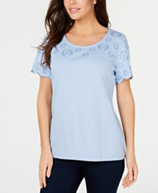 Karen Scott Petite Embroidery-Trim Cotton Top, Created for Macy's