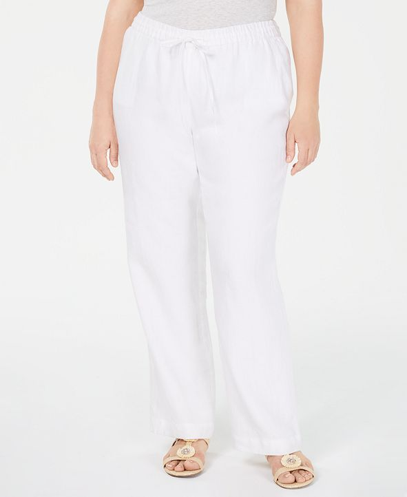 Charter Club Plus Size Linen Straight-Leg Pants, Created for Macy's