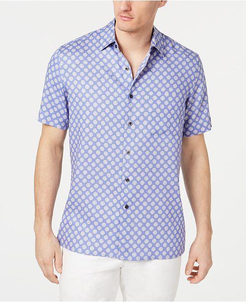 Tasso Elba Men's Fulano Medallion-Print Silk Shirt, Created for Macy's