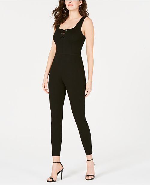 GUESS Sleeveless Lace-Up Jumpsuit