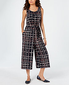 Tommy Hilfiger Floral Plaid Jumpsuit, Created for Macy's