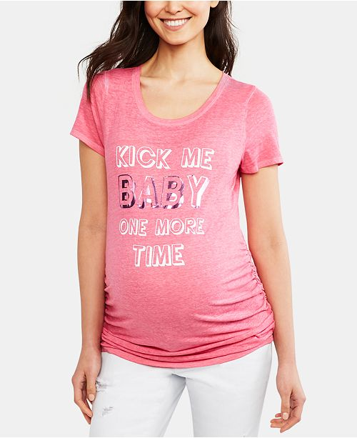Motherhood Maternity Kick Me Baby One More Time™ Maternity Graphic Tee