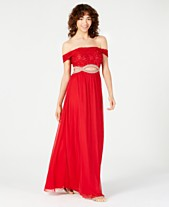 2afc1a1ce3 Speechless Juniors  Off-The-Shoulder Infinity-Waist Gown
