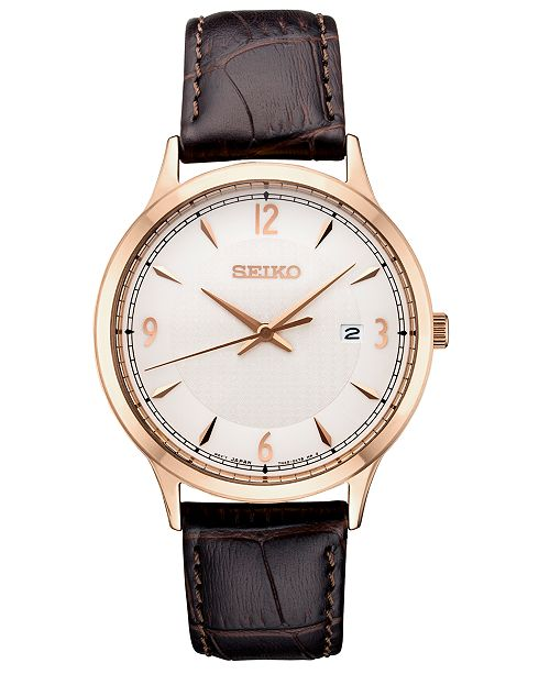 Seiko Men's Essential Brown Leather Strap Watch 40.4mm