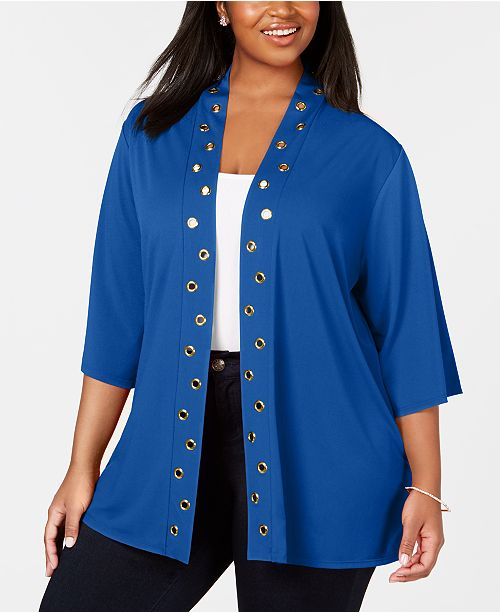 Belldini Plus Size Grommet-Trim Open-Front Cardigan