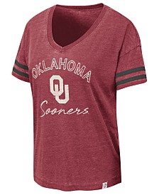 Colosseum Women's Oklahoma Sooners Burnout V-Neck T-Shirt